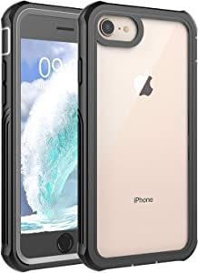 AFARER Compatible with iPhone 6/7/8 case Built-in Screen Protector,Slim Full Body Dual Heavy Duty Armor Shock Drop Proof Clear Protective case - Black Gray
