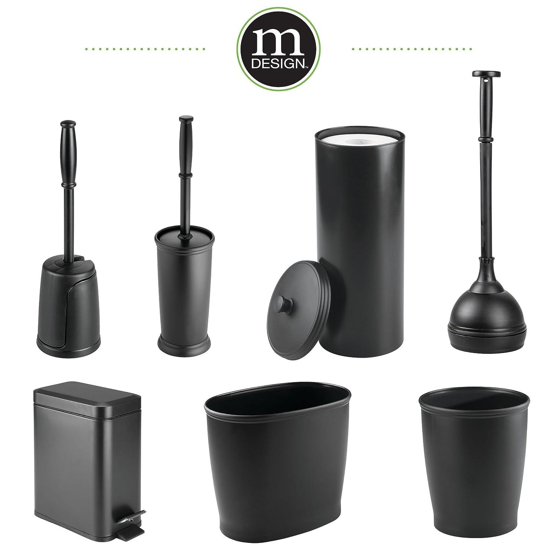 mDesign Compact Freestanding Plastic Toilet Bowl Brush and Holder for Bathroom