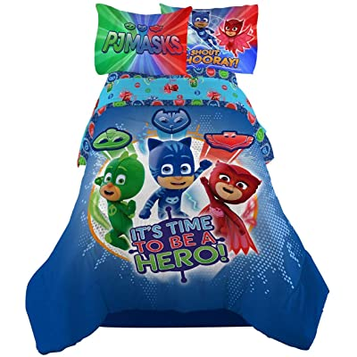 PJ Masks It's Hero Time Kids Bedding Sheet Twin Sheet Set with Comforter 4 Piece - [Blue]: Home & Kitchen