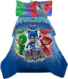 PJ Masks It's Hero Time Kids Bedding Sheet Twin Sheet Set with Comforter 4 Piece - [Blue]
