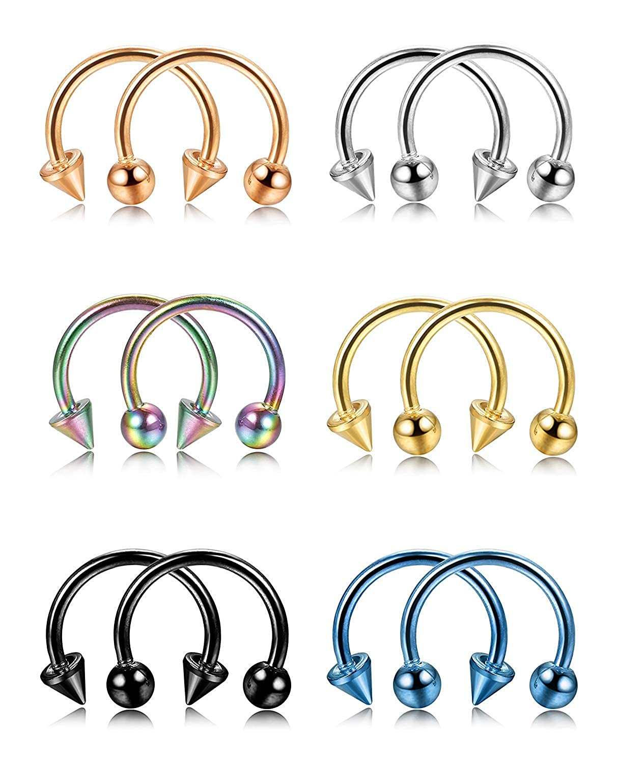 Subiceto 12PCS 16G Stainless Steel Multi-Functional Nose Septum Horseshoe Hoop Earring Lip Nipple Captive Hoop Ring Tragus Cartilage Earrings SU-P49-12