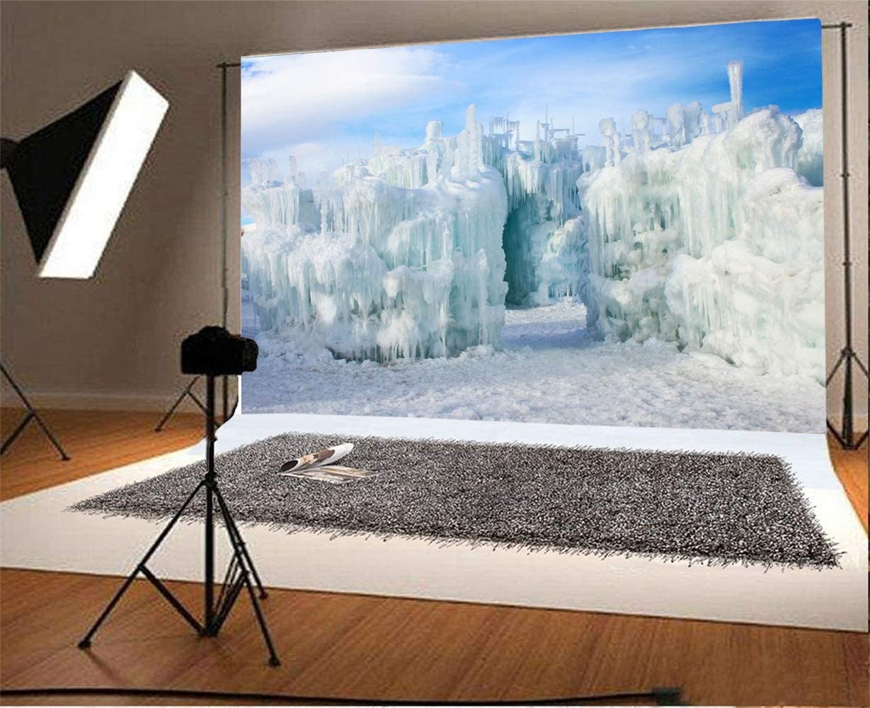 Winter Landscape Backdrop 8x6.5ft Vinyl Dynamic Ice Castle Tunnel Snow Blue Sky Scene Photography Background Freezing Cold Weather Birthday Party Banner Kids Baby Shoot Wedding Portrait