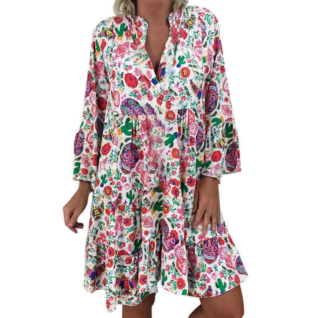 Madmoon Damen Kleider V-Ausschnitt Langarm Sommerkleid Casual Lose Kleid Boho Blumendruck Strandkleid Gro/ße Gr/ö/ßen MiniKleid Partei Strand Kurzschluss Minikleid