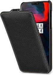 StilGut Housse OnePlus 6 UltraSlim en Cuir à Ouverture Verticale avec Fonction Mise en Veille Automatique, Noir