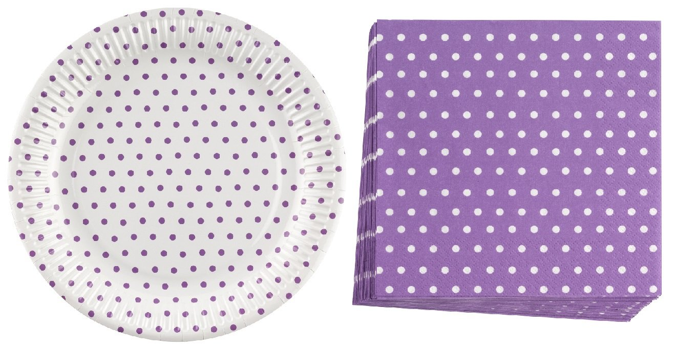 Neviti Carnival Collection Large Plates and Napkins - Purple Dots