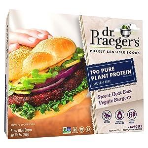 Dr. Praeger's Sweet Heat Beet Veggie Burgers, 8 Ounces (Frozen)