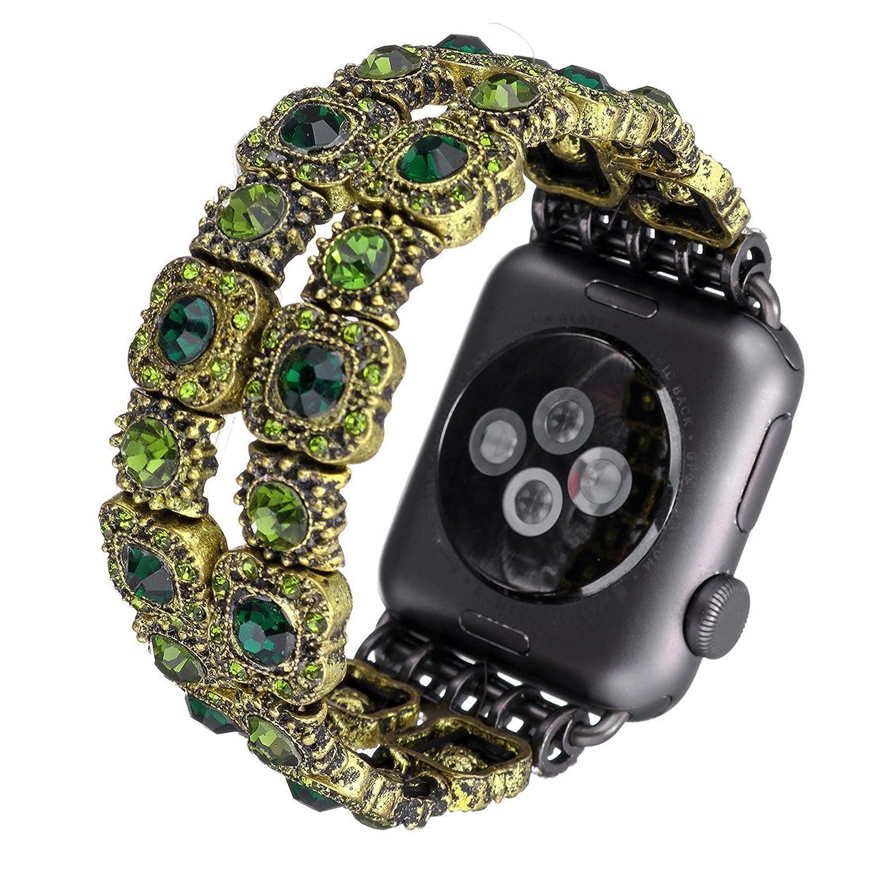 時計バンド、ヴィンテージブレスレットフェイククリスタルアンティークジュエリー交換iWatchバンドfor Apple Watch 42mm グリーン B078N297F9グリーン 42mm