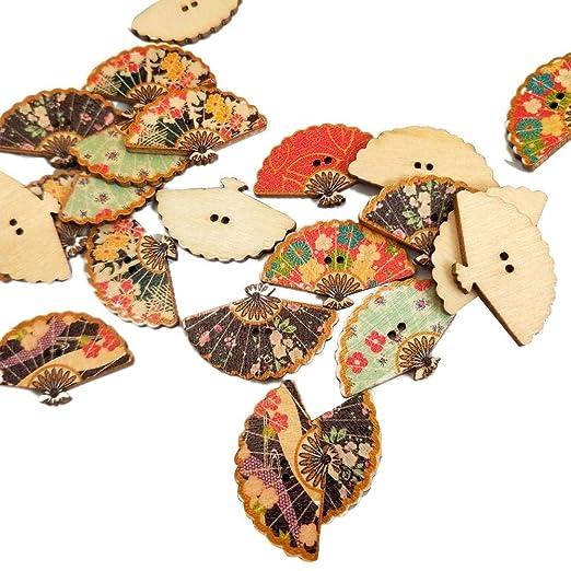 50 UNIDS/Paquete Botones de madera Abanicos en forma de mano ...