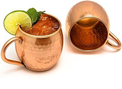 Zap Impex Taza de cobre puro Moscow Mule, sin revestimiento, cobre martillado, ideal para todas las bebidas frías para entretener y bar o en casa, ...