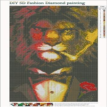 WOBANG 5D Juego de Pintura de Diamantes para Pintar por números, Juego de Pintura de Diamantes con diseño de león y ...