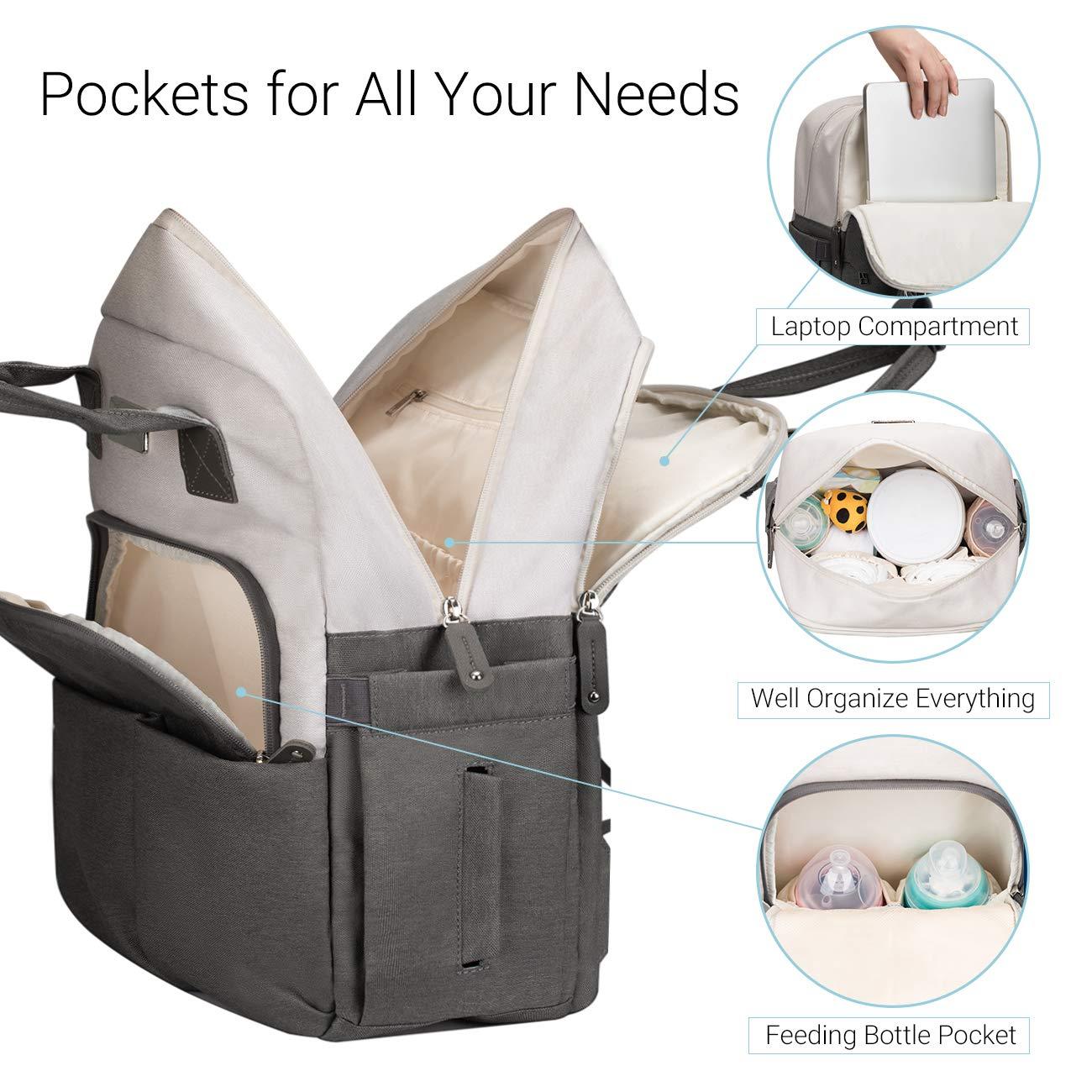 COSYLAND Baby Wickelrucksack Babytasche Wickeltasche Rucksack Multifunktional Gro/ß Kapazit/ät mit Kinderwagen-haken Isolierte Tasche USB-Lade Port Grau-Wei/ß