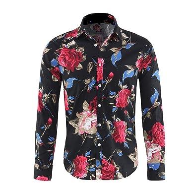 609f74e8977c67 Cloudstyle Men's Shirt Stylish Slim Fit Button Down Long Sleeve Floral  Shirt Black