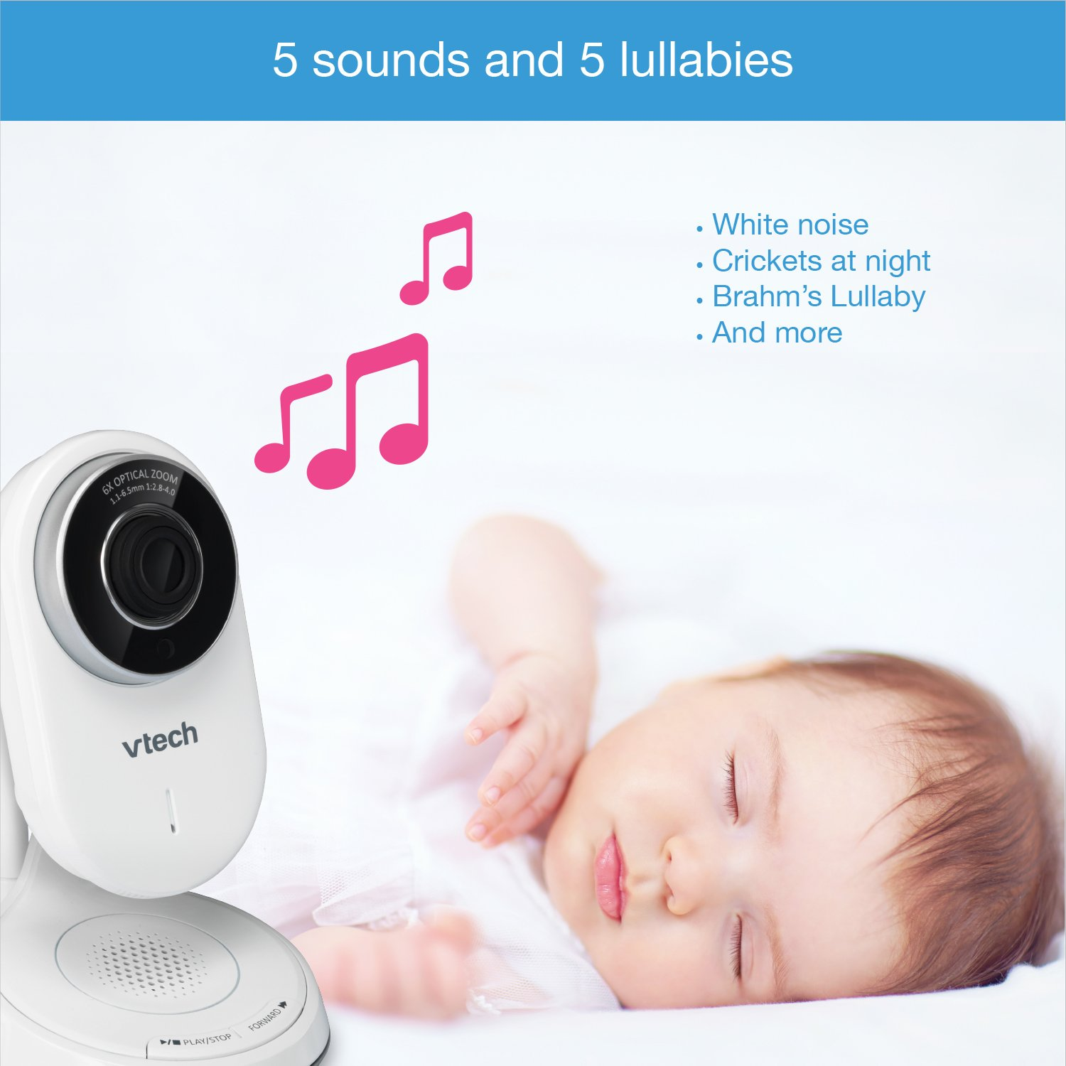 VTech VM5271-2 Video Baby Monitor with 5-inch Screen, Motorized Lens with 6x Optical Zoom, Soothing Sounds & Lullabies, Temperature Sensor & 1,000 feet of Range with 2 Cameras by VTech (Image #8)