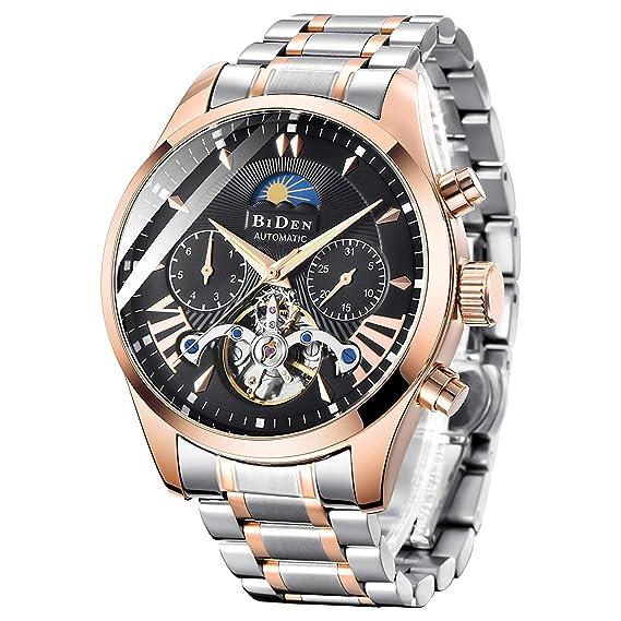 Relojes Hombre Moda Impermeable Reloj Mecánico Automático Hombre Negocios Luminosos Analógico Fase Lunar Calendario Relojes