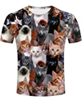Love Animals Cat Face 3D Mens Short Sleeves Front Back Print Design By Xijia T-