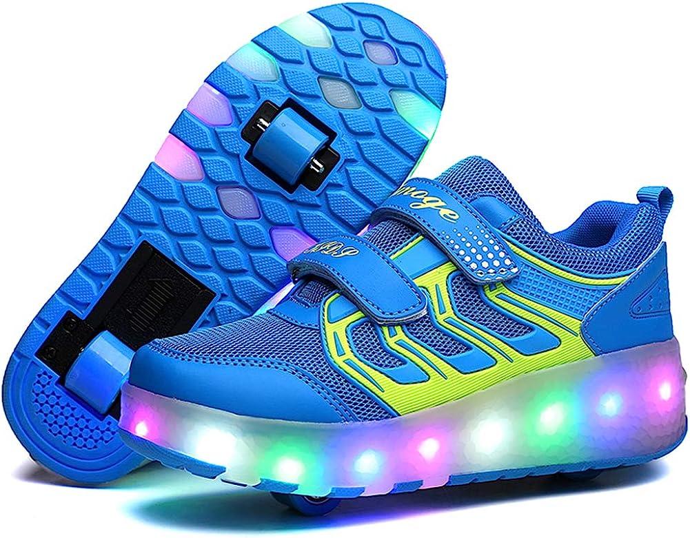 Luckly Grace LED Lumi/ères Clignotant Couleur Changeant Chaussures /à roulettes Multisports Outdoor 7 Couleurs LED Color/és Gymnastique Sneakers avec Double Rouleau de Gar/çon et Fille