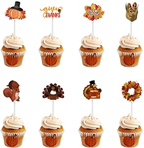 Amosfun 72PCS Thanksgiving Cupcake Toppers Turkey Food Picks Pumpkin Pie Decoration Toppers for Thanksgiving Party Food Decoration