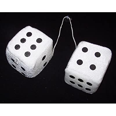 BUY 1 GET 1 FREE Large Pair of WHITE 3 Inch Plush Fuzzy Soft Dice - Great for Hanging on Rearview Car Mirror: Everything Else