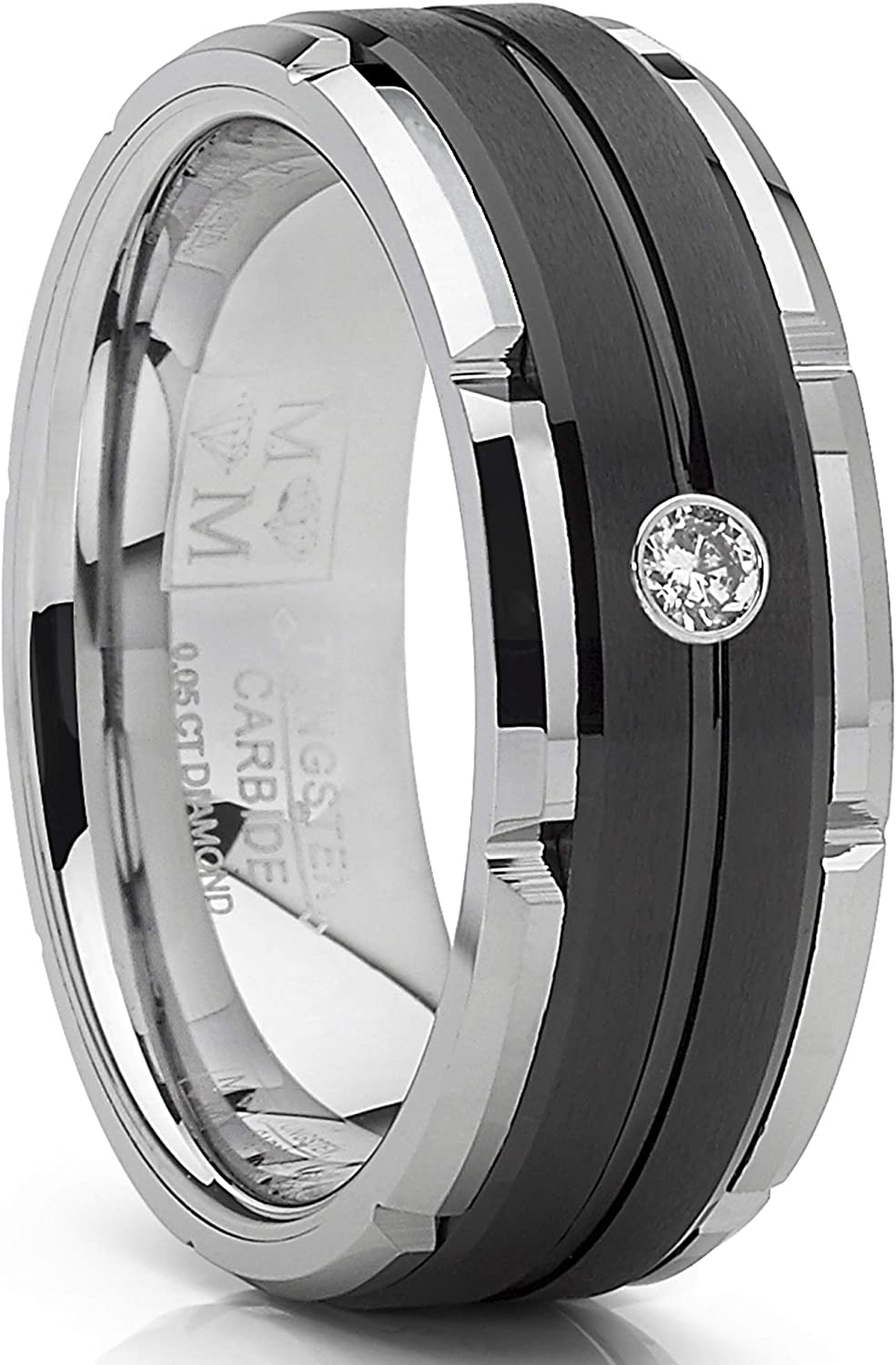Metal Masters Co. Men's Tungsten Carbide Wedding Band Real Diamond .05 Two Tone Black Ring 8mm
