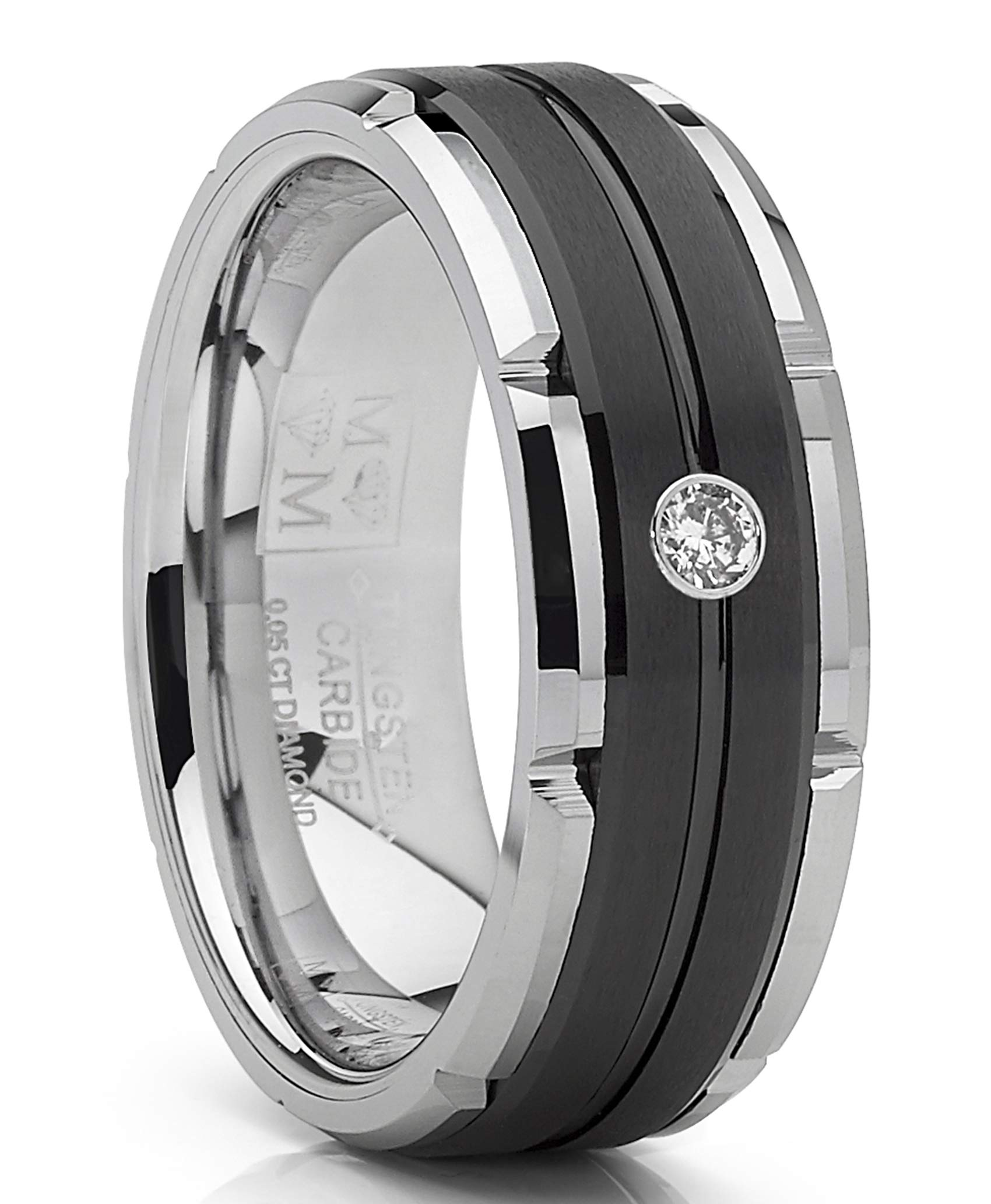 Metal Masters Co. Men's Tungsten Carbide Wedding Band Real Diamond .05 Two Tone Black Ring 8mm 8.5