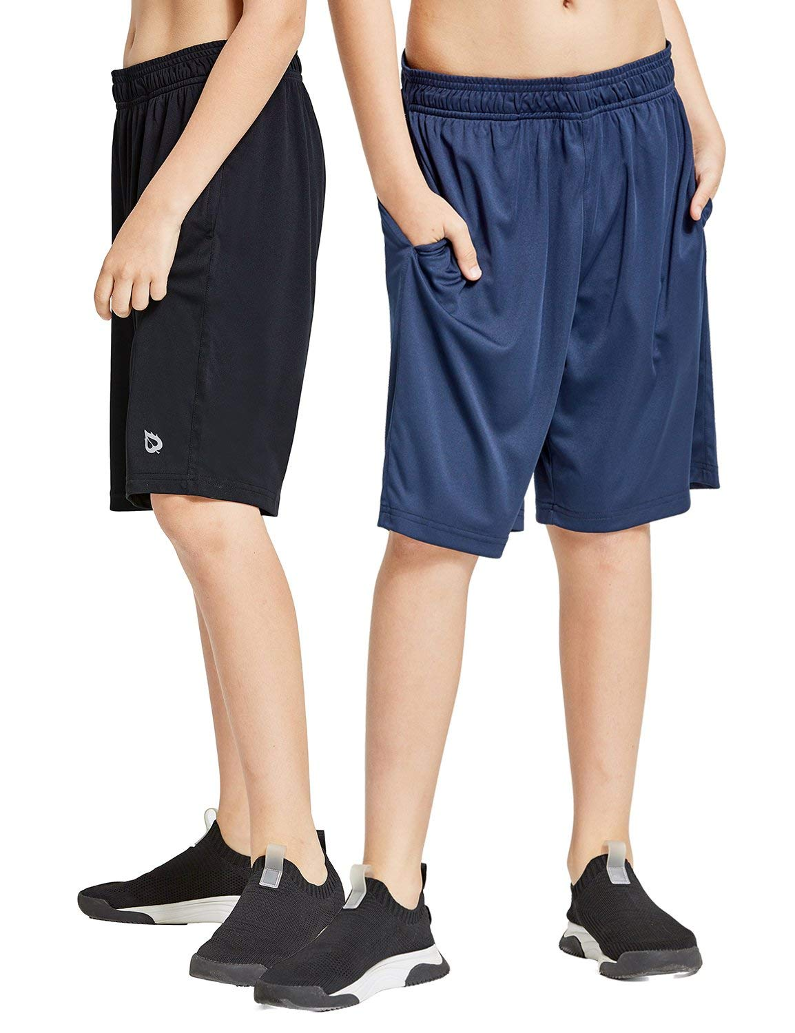 Baleaf Youth Boys' Athletic Running Shorts Pockets Tennis Volleyball Shorts Pack of 2 Black/Navy Size S by Baleaf