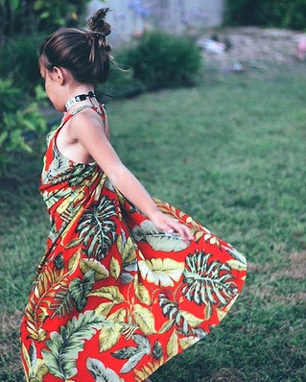 SoftWolf Baby Girls Sleeveless Strap Summer Long Dress,Travel Beach Dress for 1-5 Year