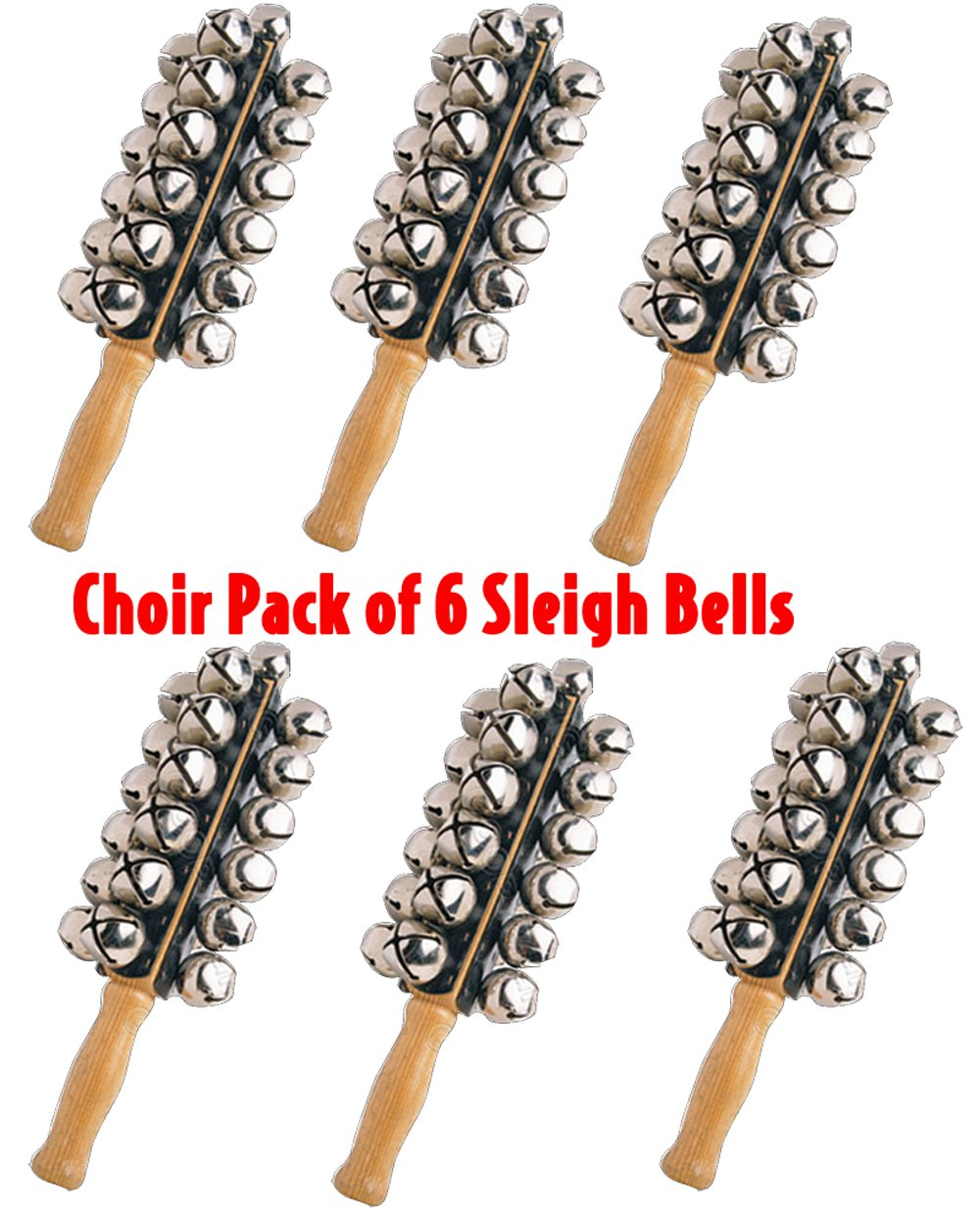 Performance Plus SBL-25-6 Choir Pack of 6 Includes 6 Professional, 25 Large Jingle Sleigh Bells on Maple Handle