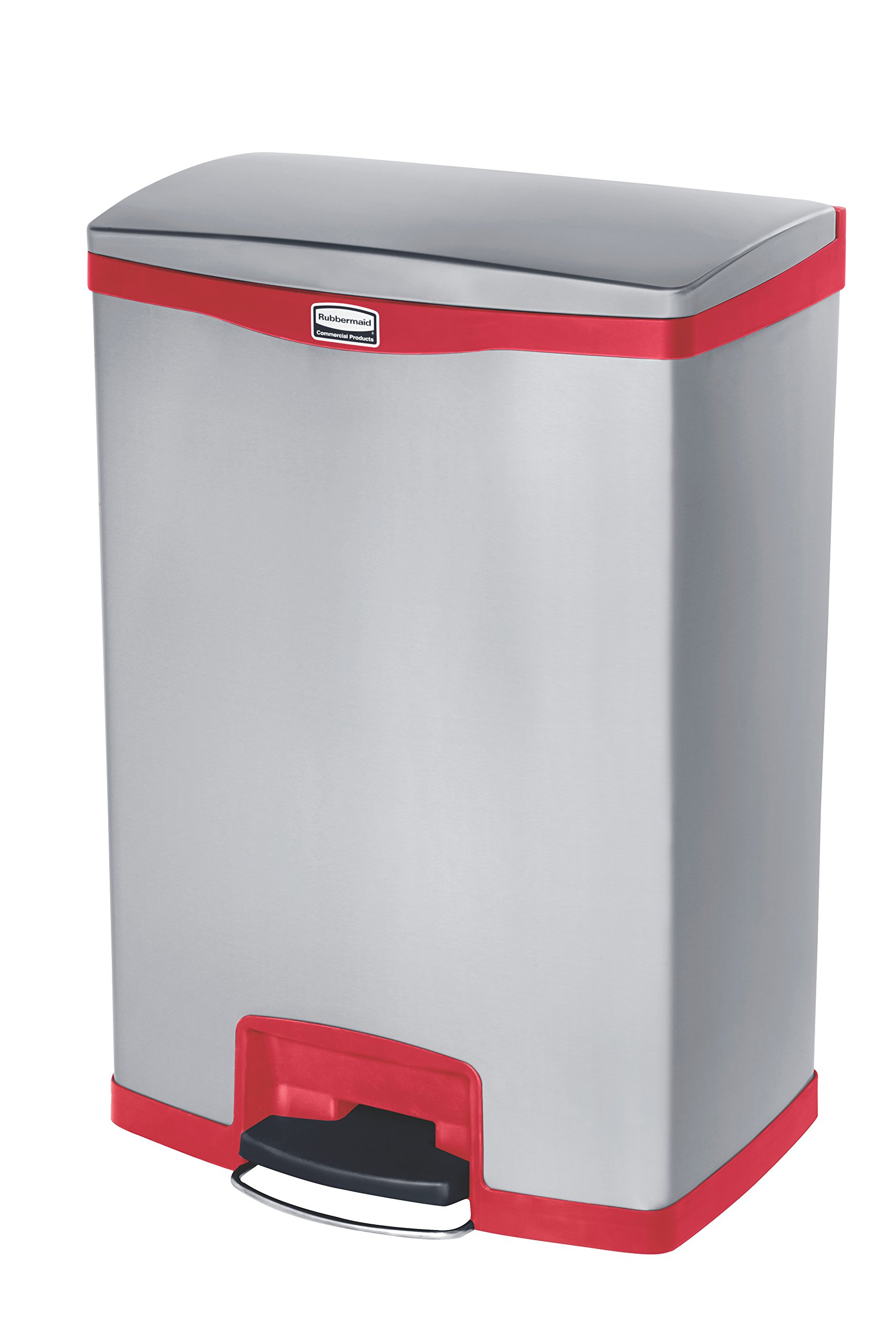 Rubbermaid Commercial Slim Jim Stainless Steel Front Step-On Wastebasket, 24-gallon, Red (1901988) by Rubbermaid Commercial Products (Image #1)