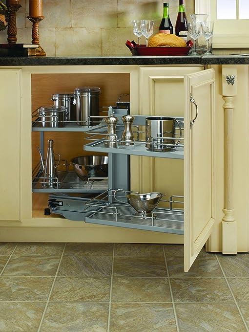 Rev A Shelf Blind Corner Pivot Out Organizer Chrome Amazon Ca Home Kitchen