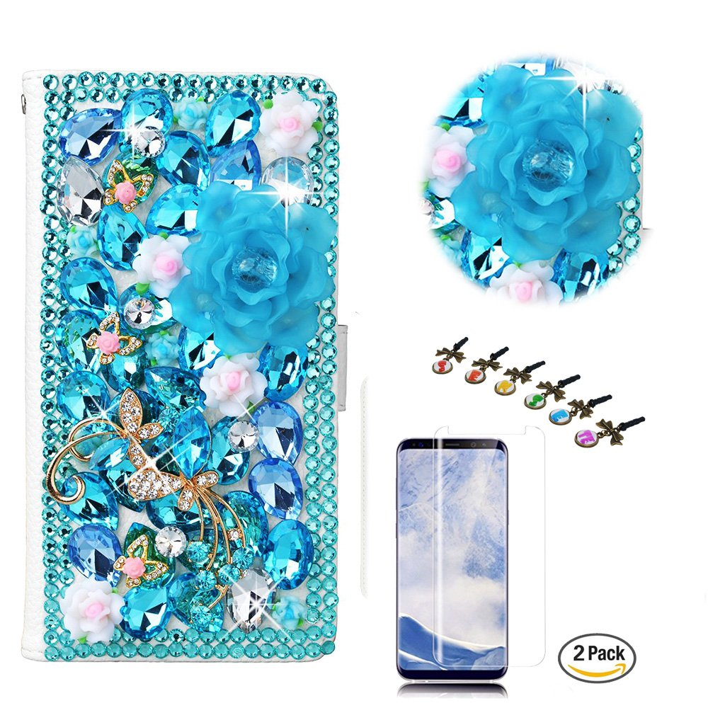 STENES LG K20 Case - Stylish - 3D Handmade Bling Crystal Dance Butterfly Flowers Design Wallet Credit Card Slots Fold Media Stand Leather Cover Case with Screen Protector - Light Blue