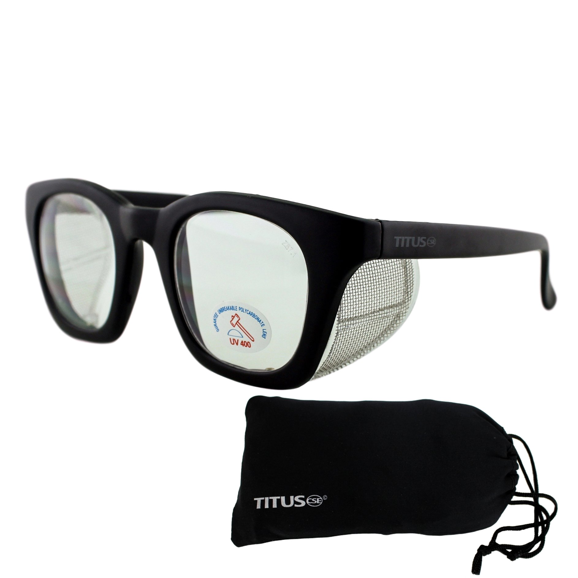 Retro Style Safety Glasses with Side Shield (With Pouch, Clear Lens - Matte Frame)