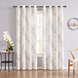 Fmfunctex Tree Print Yellow Grey and White Curtains for Living Room Windows - Linen Textured Grommet Branches Pattern Window
