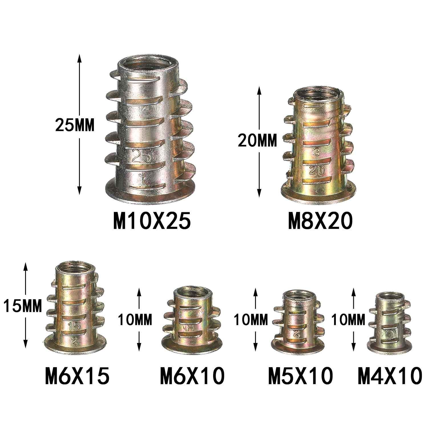 ESDInCtl 100 Pieces M4/M5/M6/M8/M10 Zinc Alloy Furniture Hex Socket Screw Inserts Threaded Insert Nuts Assortment Tool Kit for Wood Furniture