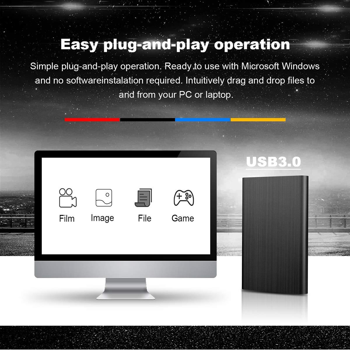 RGONNEK 2 TB USB 3.0 Disco Duro Externo portátil de 2,5