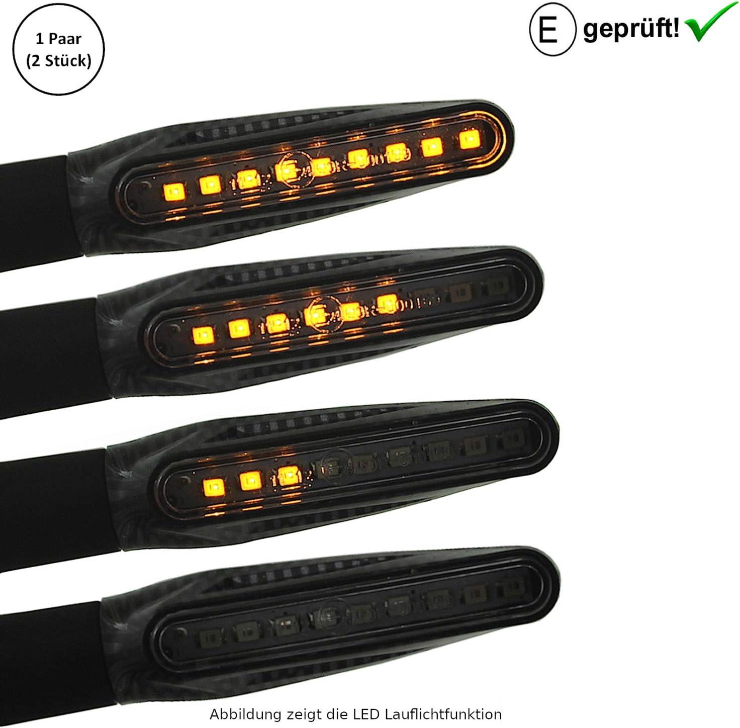 Carbon Universal Motorrad LED Blinker Lauflicht Laufeffekt B7 E-Gepr/üft // Motorroller LED Blinker