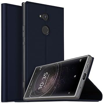 Funda Sony Xperia XA2 Ultra, iBetter Flip Cover Carcasa PU Silicio Protectora de Carcasa con Soporte Plegable para Sony Xperia XA2 Ultra ?Azul