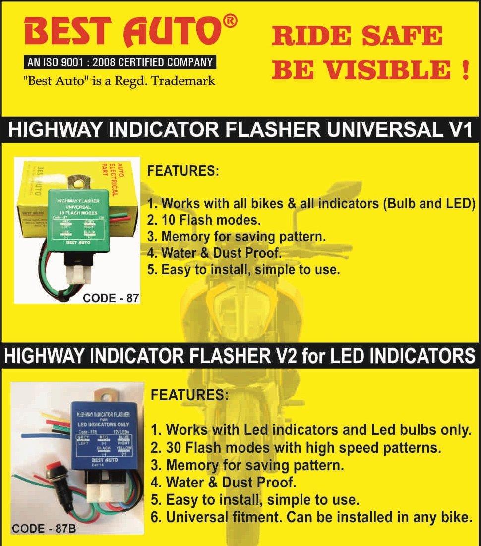 Best Auto Nylon Plastic 30 Modes Highway Indicator Flasher V2 For Wiring Diagram Motorcycle Led Indicators Car Motorbike
