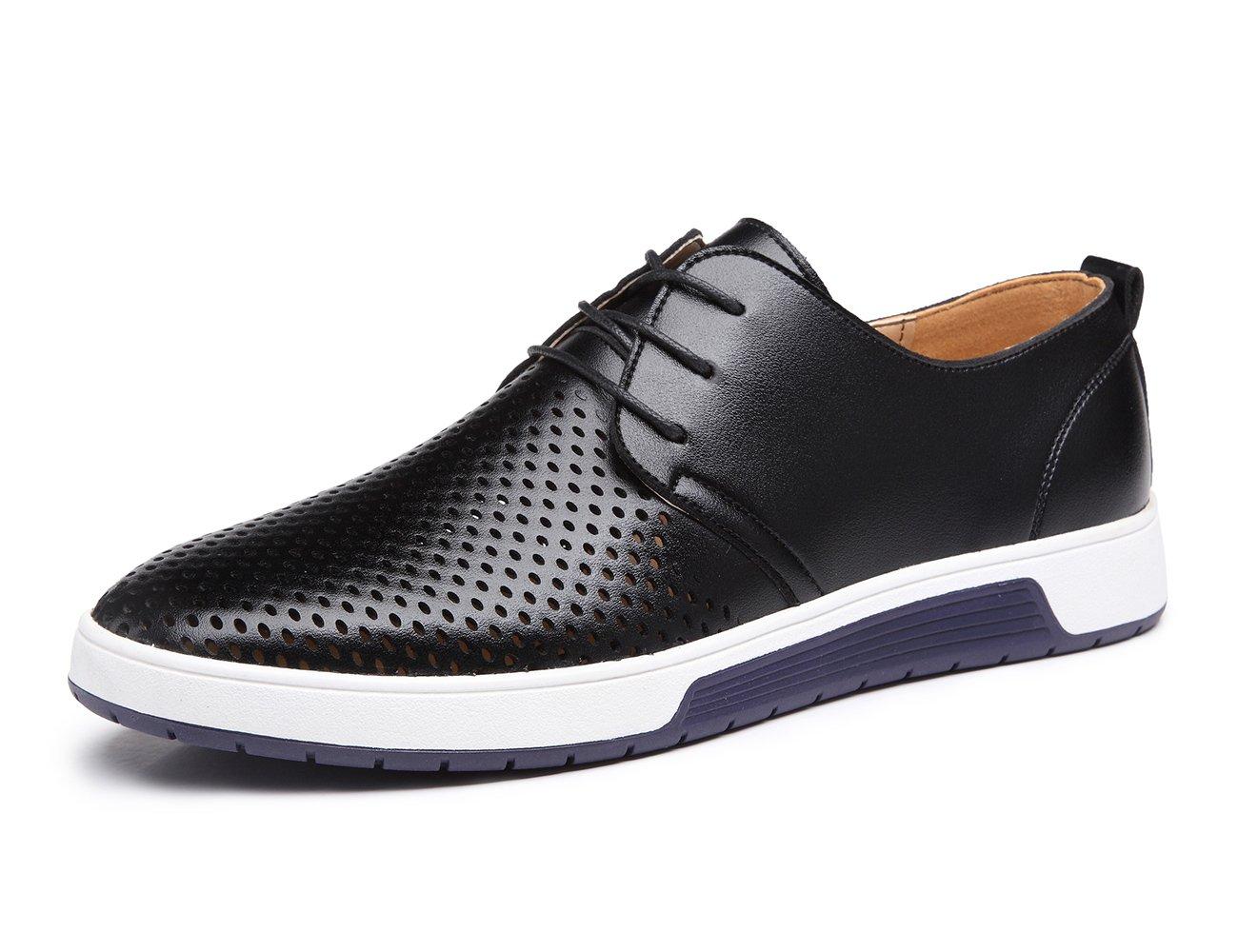 XMWEALTHY Men's British Style Breathable Flat Dress Shoes Black US 12