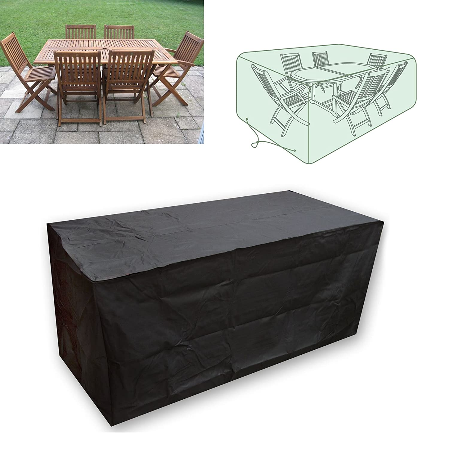 Vinteky OUTDOOR WATERPROOF PATIO FURNITURE SET COVER COVERS TABLE BENCH CUBE GARDEN (Round-110*230cm)