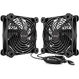 PCCOOLER 120mm USB Fan(2 Pack), Quiet Fan in 3 Adjustable Speed, Dual Ball Bearing 5V USB Fan, Portable USB Fans Compatible f