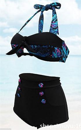 f90b0c4fe4944 Roberoody Trendy Women's Vine Bikini Swimwear High Waist Swimsuit Vine  Beach Swimsets Black XXXL(12