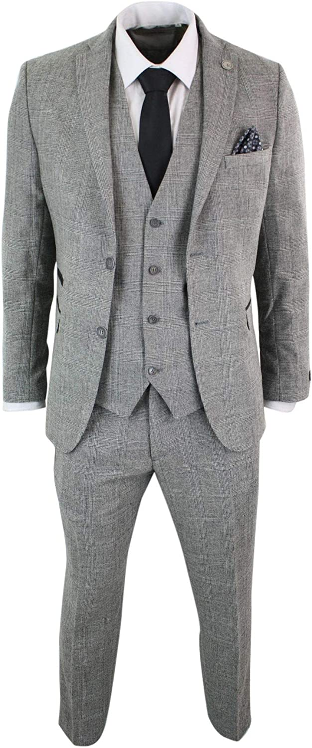TruClothing Mens Grey Black 3 Piece Check Suit Prince of Wales Wool Tailored Fit Classic Retro Vintage Grey