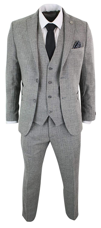 TruClothing.com Abito Completo 3 Pezzi Grigio Nero Scacchi Vintage Retro Peaky Blinders Tweed