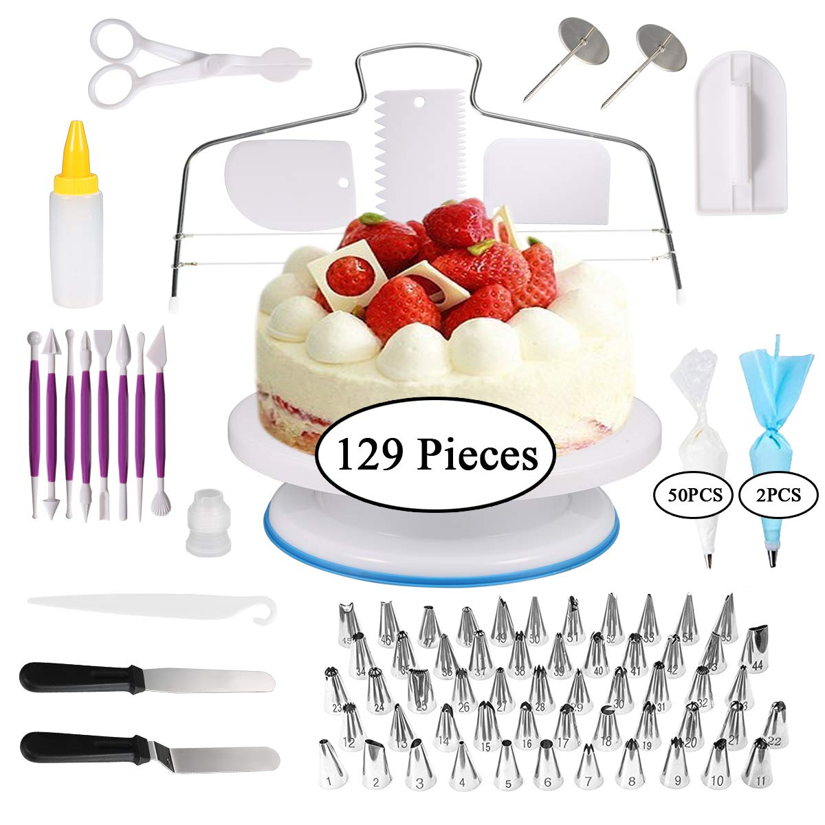 Cake Decorating Supplies, 129 PCS Cake Decorating Kit Set for Beginners, Baking Supplies Set With Rotating Turntable Stand, Icing Piping Tips & Pastry Bags, Icing Spatula & Smoother