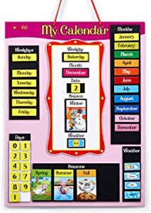 ZazzyKid Magnetic Wall Calendar for Kids: Learn Today's Date, Weekday, Month, Season, Weather Chart