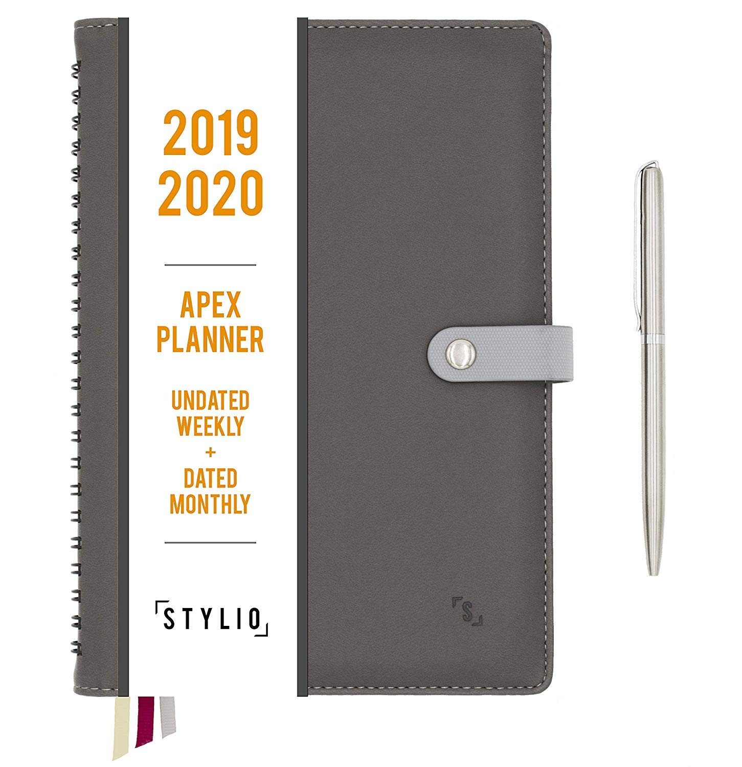 STYLIO Apex Planner 2019-2020. Undated Weekly, Dated Monthly Calendar Personal Agenda Organizer for Business/Academic/School Life. Daily Goals, ...