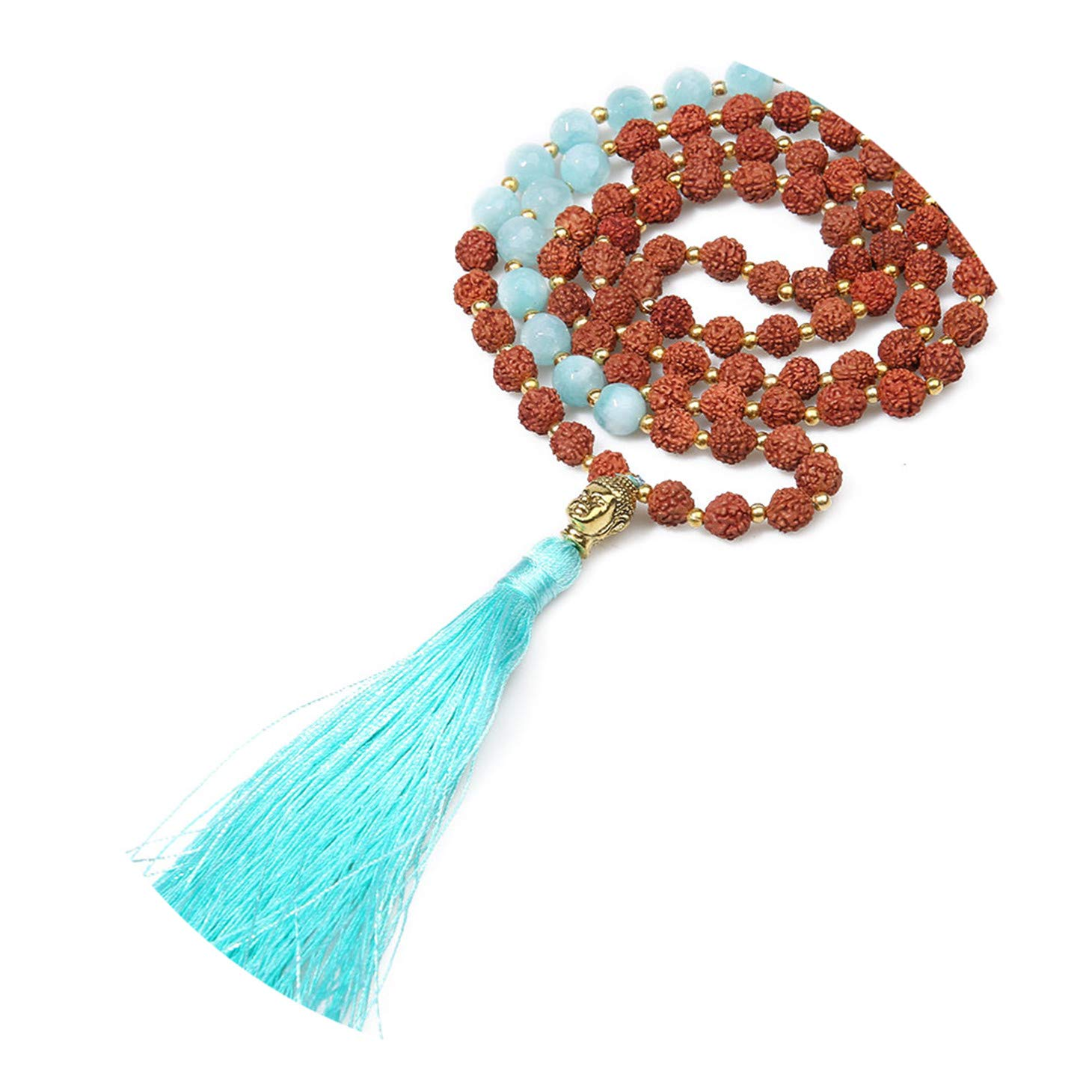 Bohemian Ethnic Necklace for Women Natural Stone Rudraksha Beads Necklace Handmade Buddha Head TASS