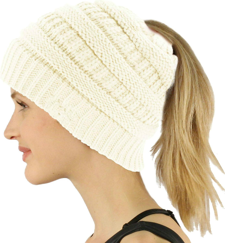 Providence Pink Messy Bun Beanie Ponytail Hat warm winter spring hat skulls skull cap