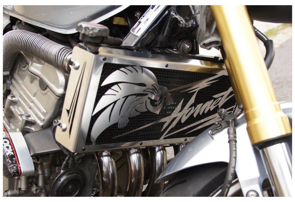 Protezione radiatore - copri radiatore CB 600 F Hornet 2003>06 e CBF 900 Hornet 2002 > 06 'Frelon + grata anti ghiaietto nera Wiltuning