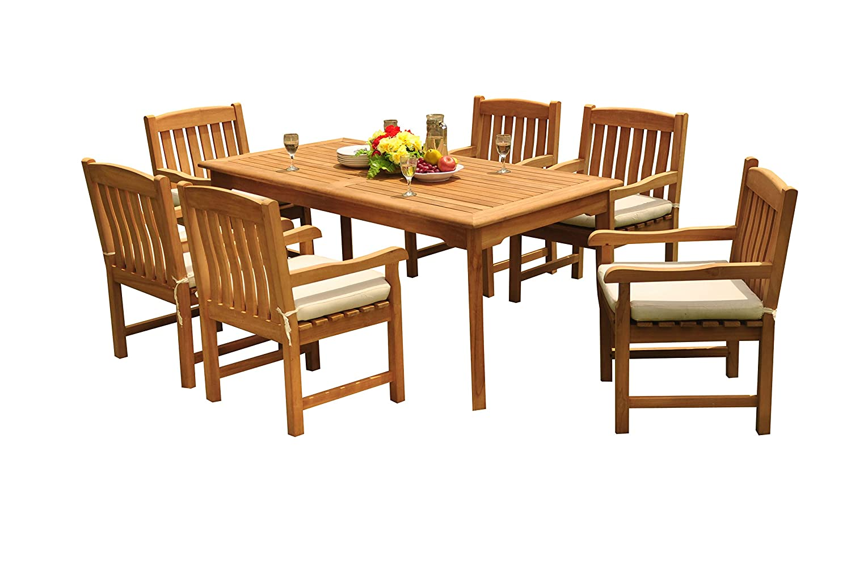 Stupendous Amazon Com 7 Pc Outdoor Teak Dining Set 71 Rectangle Pdpeps Interior Chair Design Pdpepsorg